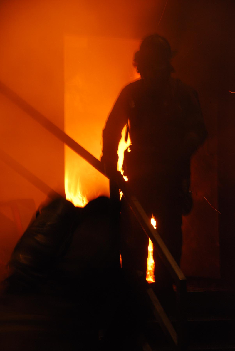 FF in front of fire